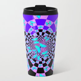 Purple & Blue Butterfly Geometric Abstract Designs Travel Mug