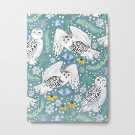 Snowy Owls on a Snowy Day - Teal Background Metal Print
