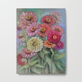 Autumn FLOWERS in the garden Still Life Pastel drawing Pink Purple Decorative Painting Metal Print