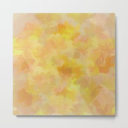 Floating Flowers Painterly Abstract Metal Print