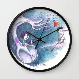 Girl with Penguin Watch as Boy Leaves With Her Heart Balloon Wall Clock