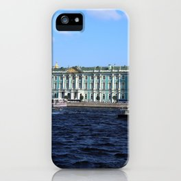The facade of the Winter Palace. Embankment of the Neva River. Hermitage Museum. St. Petersburg. iPhone Case