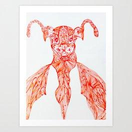 Red&White Ox Tribal Graphic Print Art Print