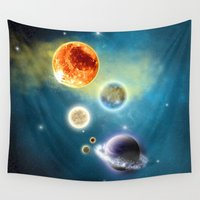 solar system Wall Tapestries featuring New Solar System by Simone Gatterwe