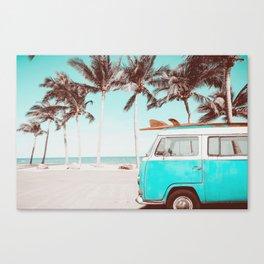 Retro Camper Van With Surf Board Canvas Print