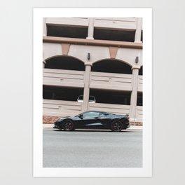 black c8 stingray sports car parked  Art Print