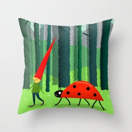 Best friends or a Dwarf and a Ladybug Throw Pillow