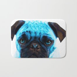 Blue Pug Dog Pop Art by Sharon Cummings Bath Mat