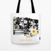 inner demons Tote Bags featuring Inner Demons by B.SANTIAGO