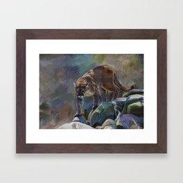 The Mountain King - Cougar Wildlife Art Framed Art Print