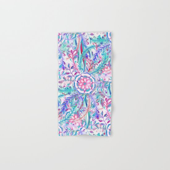 Boho Flower Burst in Pink and Teal Hand & Bath Towel