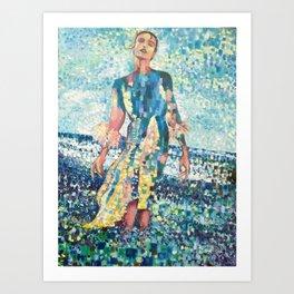 Girl on a beach Art Print