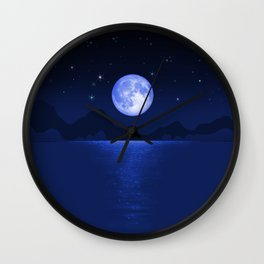Morning Blue Moon Reflection Wall Clock