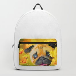 Pug in Daisies Backpack