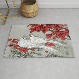 Vintage White Doves and Red Leaves on Gray / Grey Rug