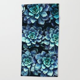 Blue And Green Succulent Plants Beach Towel