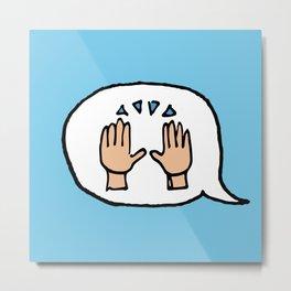 Hand-drawn Emoji - Hands Raised Up In Cheer Metal Print