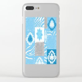 ANIMAL PRINT ZEBRA MULTI BLUE AND WHITE Clear iPhone Case