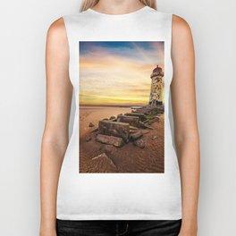 Lighthouse Sunset Wales Biker Tank