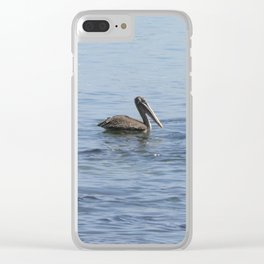 pelican on the water Clear iPhone Case