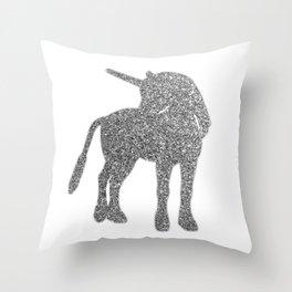 Glitter Unicorn - silver Throw Pillow