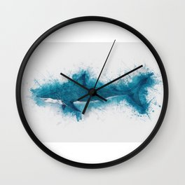 Cool Blue Shark Watercolor Art for the Ocean Lovers and Anglers Wall Clock