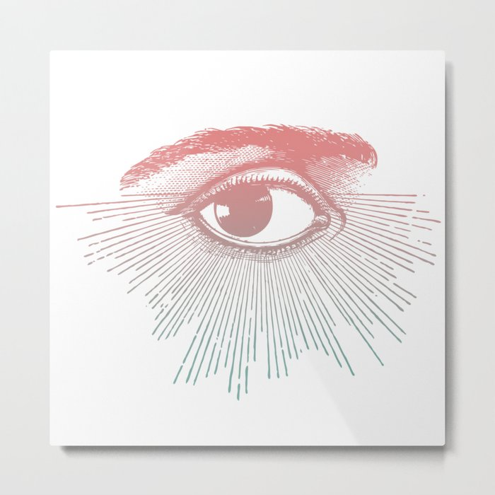 I See You. Pink Turquoise Gradient Sunburst Metal Print