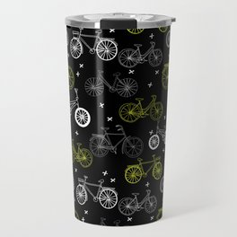 Bicycles cycle pattern black and white by andrea lauren Travel Mug