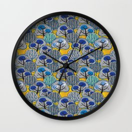 Trees in Gold Wall Clock