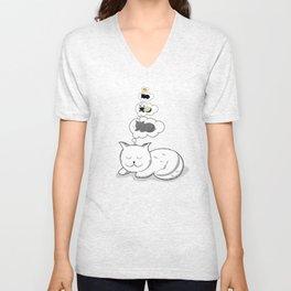 A cat dreaming of a cat that dreams of dreaming of a cat that dreams of dreaming of a cat. Unisex V-Neck