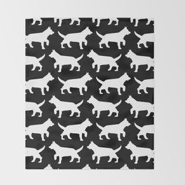 Black with white dogs pattern  Throw Blanket