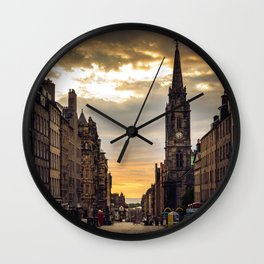 Royal Mile Sunrise in Edinburgh, Scotland Wall Clock