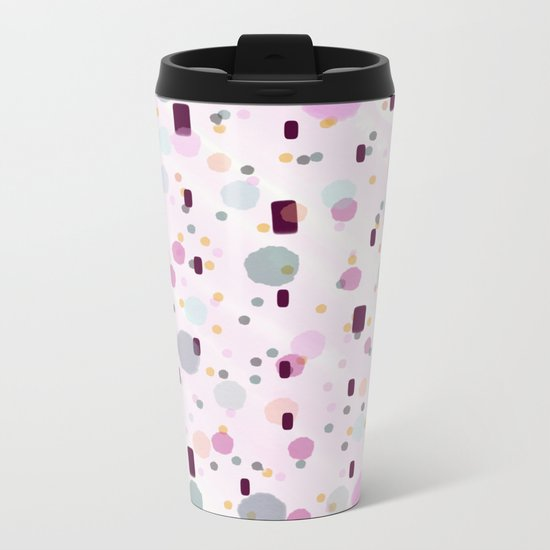 Watercolor Splash Effect Pattern Metal Travel Mug