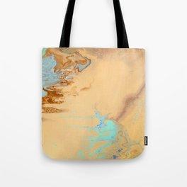 Fluid Art Acrylic Painting, Pour 11, Tan, Brown & Light Blue Blended Colors Tote Bag