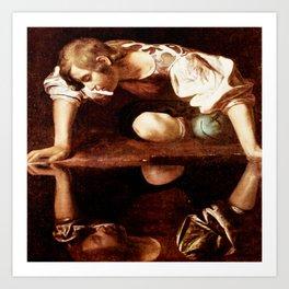 Michelangelo Merisi da Caravaggio, Narcissus at the Source, oil on canvas, 1597-99 Art Print