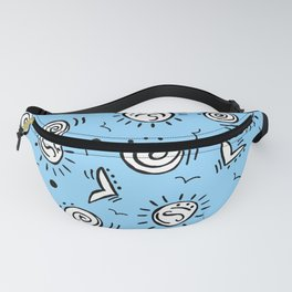 Doodle Drawing Seagulls Shells Sun - Blue Background Fanny Pack