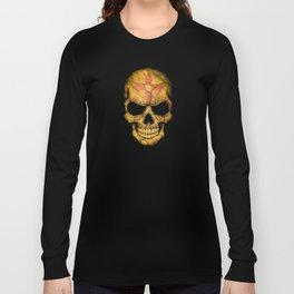 Dark Skull with Flag of New Mexico Long Sleeve T-shirt