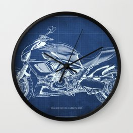 Motorcycle blueprint, Diavel CCarbon 2012, man cave decoration, white line drawing, poster for teen Wall Clock