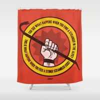 lebowski Shower Curtains featuring What happens... (Big Lebowski Censored) by Gimetzco's Damaged Goods