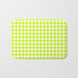 Small Diamonds - White and Fluorescent Yellow Bath Mat