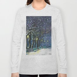 Snowy night park Long Sleeve T-shirt