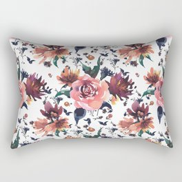 Hand painted coral burgundy watercolor roses floral pattern Rectangular Pillow