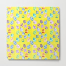 Easter Egg Watercolor Pattern -  Yellow Metal Print