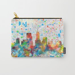 indianapolis city skyline watercolor 6 Carry-All Pouch