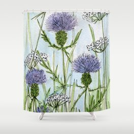 Thistle White Lace Watercolor Shower Curtain