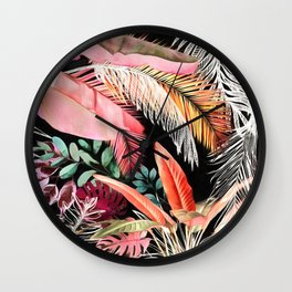 Tropical Foliage 05 Night Garden Wall Clock