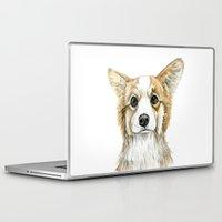 corgi Laptop & iPad Skins featuring Corgi by Leanne Engel