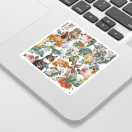 Cat and Floral Pattern III Sticker