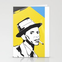 frank sinatra Stationery Cards featuring Retro Illustration of Frank Sinatra by Eve Weiner