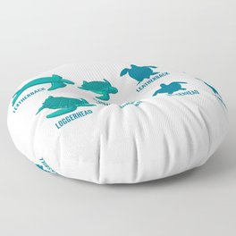 Types Of Turtle Leatherback Gift For Scuba Diver Floor Pillow